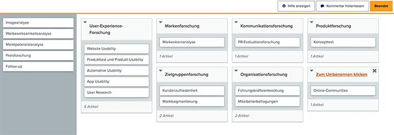 Online Card Sorting (Optimal Workshop)